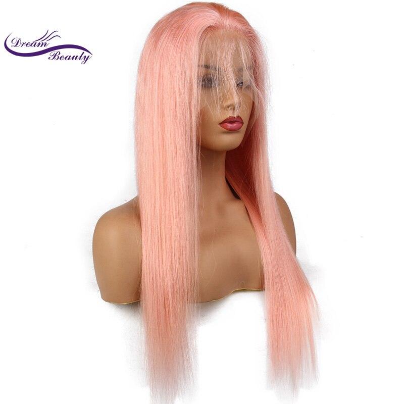 夢美容ペルーレミー人間の髪ピンク色フロントレースかつら事前摘み取ら生え際ストレート髪グルーレスかつら  グループ上の ヘアエクステンション & ウィッグ からの 人毛レースウィッグ の中 3