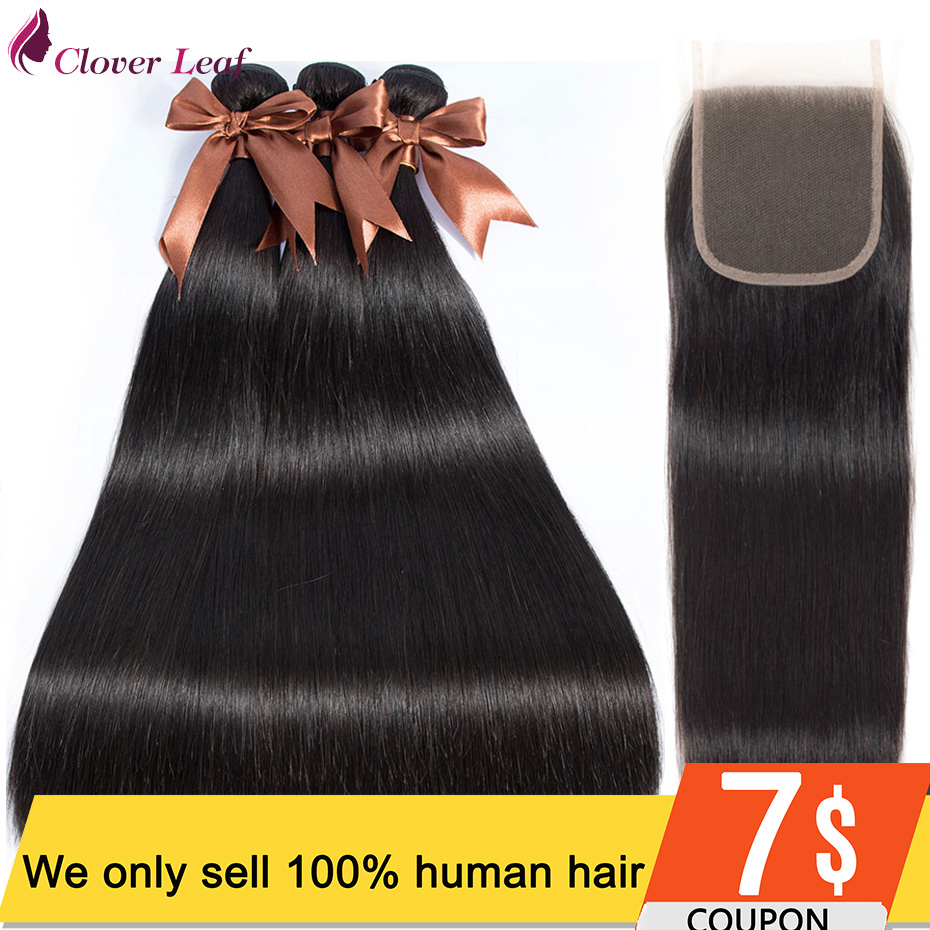 Straight Peruvian Hair Bundles With Closure 3 Bundles  Human Hair With Lace Closure Free Middle Part Remy Hair 4*4 Lace Closure