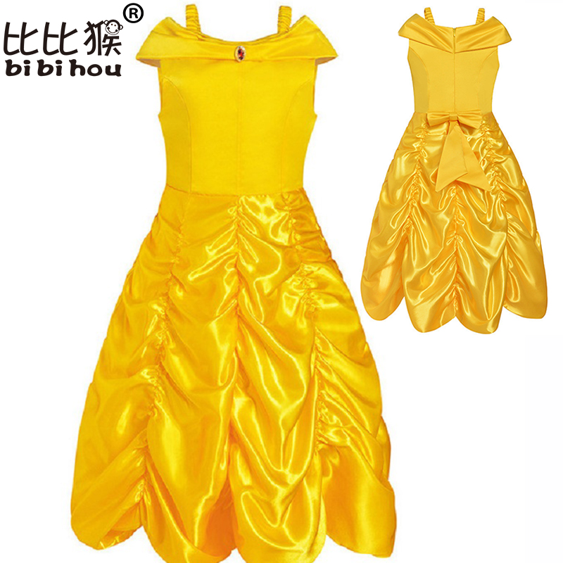 Kids Girl dress Beauty and beast cosplay carnival costume fancy belle princess dress for Christmas Halloween dress child clothes new 2016 kids girl beauty and beast cosplay carnival costume kids belle princess dress for christmas halloween fantasia infantil