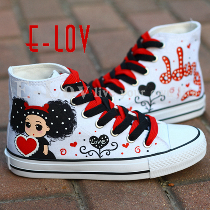 E-LOV girl with red & black heart Painting Designs Hand-Painted Canvas Shoes Personalized Adult Casual Shoes Cute Platform Shoes e lov black rabbit painting designs hand painted canvas shoes personalized adult casual shoes cute platform shoes red shoelace