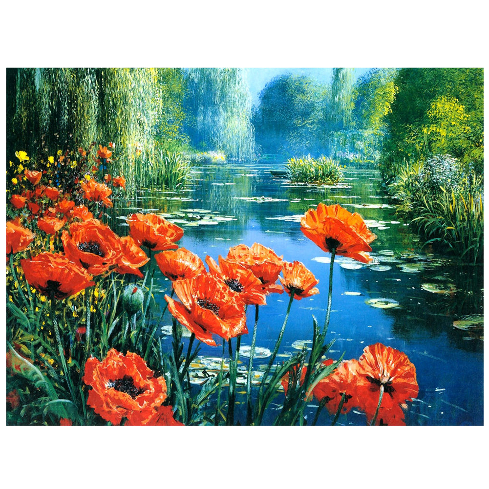 Hot 5D DIY Diamond Painting Flowers Embroidery Cross Crafts Stitch Kit Home Decor(River bank flower)
