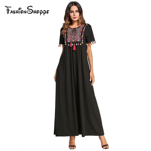 2018 Summe Kaftan Fashion Short Sleeve Embroidery Tassel Maxi Abaya Dress  Plus Size Black Moroccan Turkish Dubai Caftan  D640 1cbcaca1e10