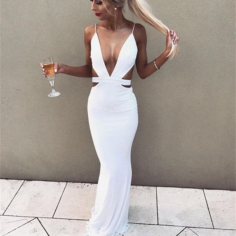 NATTEMAID 2018 Paillettes Sash Hollow Out Celebrity Dress Abiti Da Sera Lunghi  Donna profondo scollo a v halter slim elegante vestito lungo in NATTEMAID  ... 70c76cd606f
