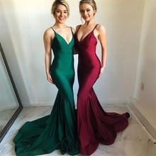 Verngo Satin Mermaid Evening Dress Sexy V-Neck Long Dress Red Green Evening Gown Robe De Soiree