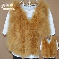 Новинка, женский жилет из натурального меха страуса, меховое пальто из страуса, Меховая куртка, много цветов,, низкая цена, F1092 - Цвет: Turmeric
