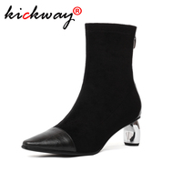 Women Black Stretch Sexy Sock Boots Shoes Ankle Boots for Women High Heel Boots Winter Luxury Shoes Women Designers Booties