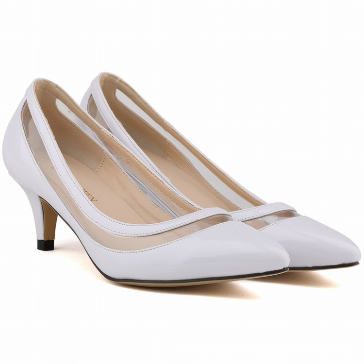 2017 Brand New Fashion Women Office Lady Pumps Sexy Pointed Toe Med High Heels Ladies Candy Color Shoes SMYBK-040 new 2017 spring summer women shoes pointed toe high quality brand fashion womens flats ladies plus size 41 sweet flock t179