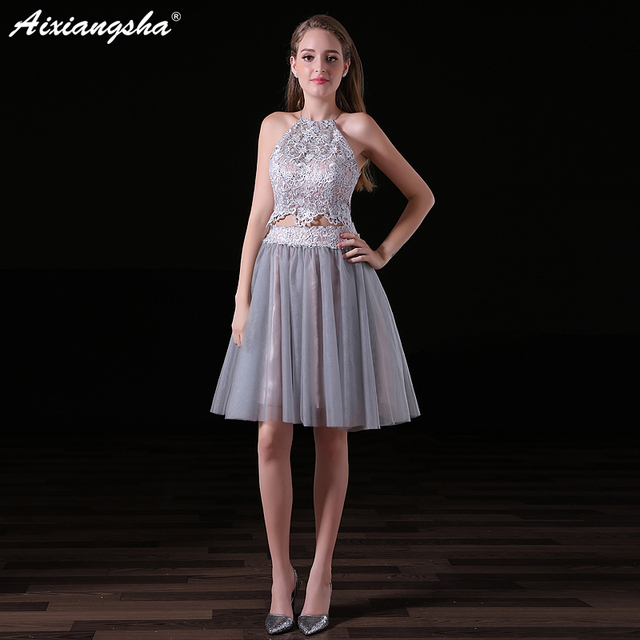 Gala En Feestjurken.New Two Pieces Lace Short Prom Dresses 2018 Sleeveles Halter Vestido
