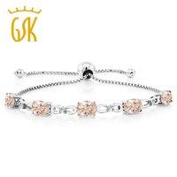 5 00 Ct Peach Morganite Diamond 925 Sterling Silver Adjustable Tennis Bracelet