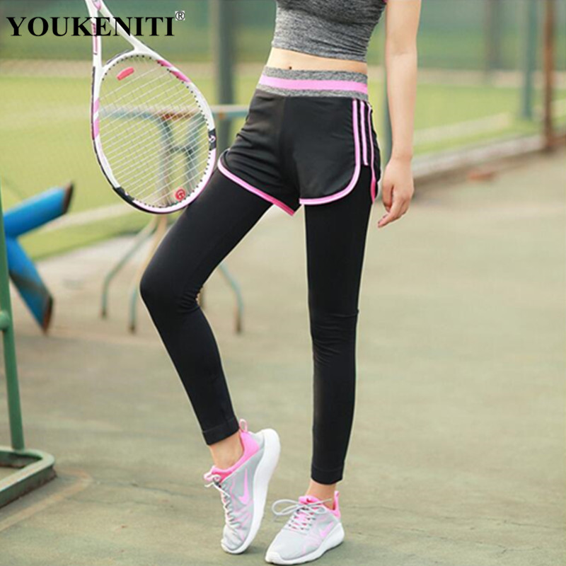 YOUKENITI Store Women Yoga Pants Stripe Double-Layer Top Yoga Capris for Running Sport Quick-drying Fitness Tights Woman Leggings