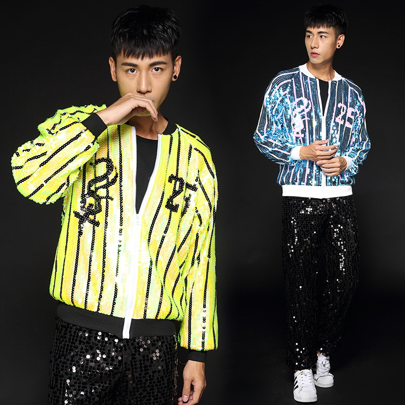 2019 Stage Costumes For Singers Men Sequined Jacket Black Pants Nightclub Dj Ds Male Hip Hop Clothing Performance Wear DN2942