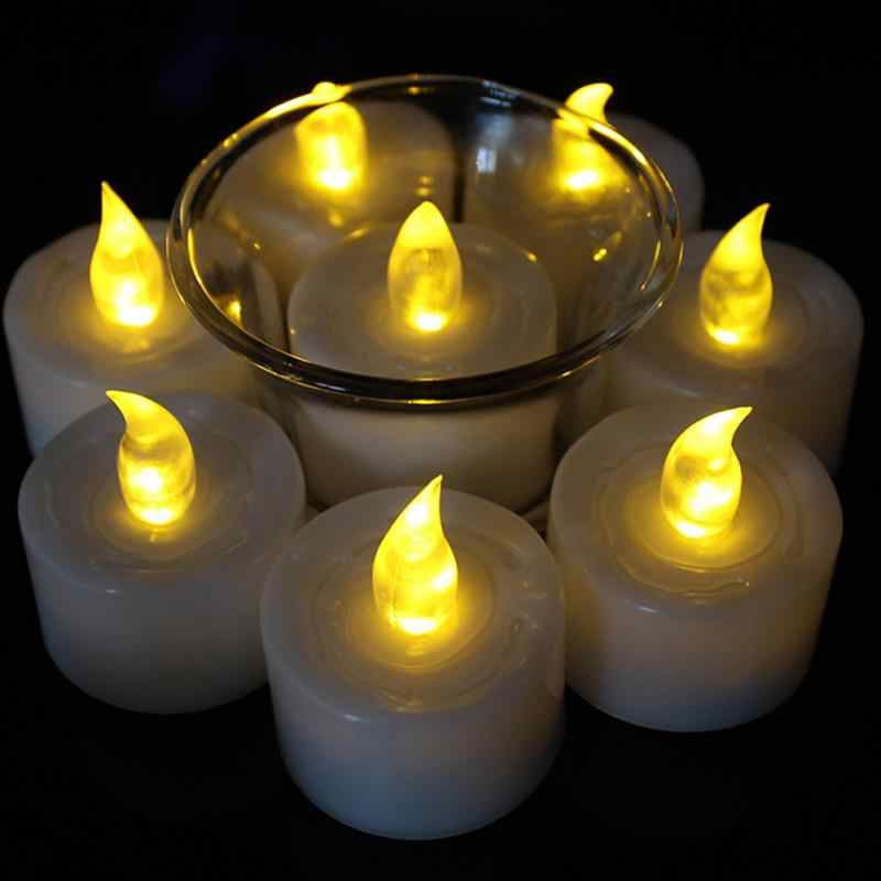 12pcs Mini Warm White velas led decorativas led Amber Glow vela de led Small candele kaarsen with battery
