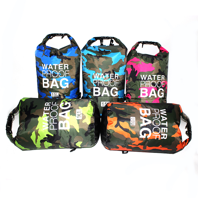 Outdoor Camouflage Waterproof Bag Portable Rafting Diving Dry Bag Sack PVC Folding Swimming Storage Bag for River Trekking 20L 1
