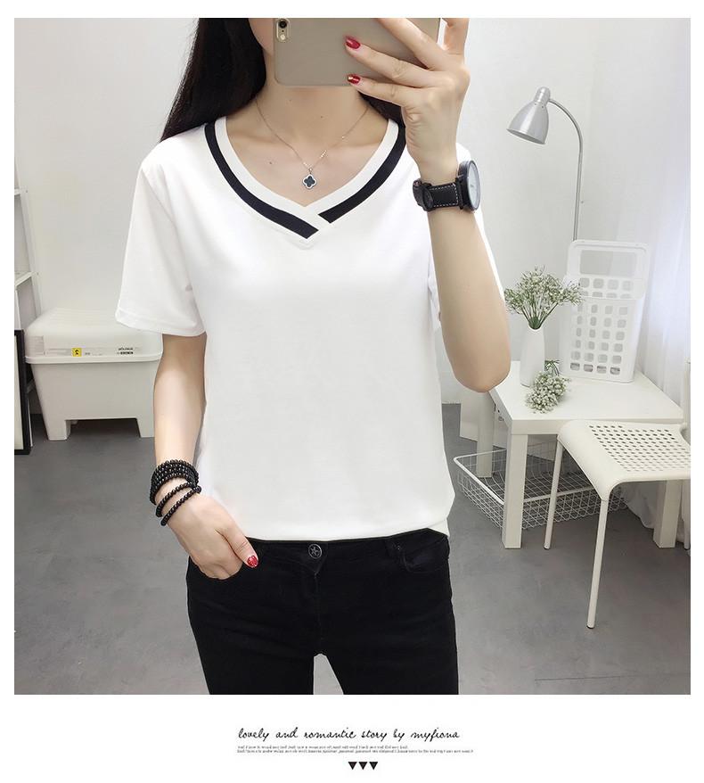 4XL 5XL Plus Size Korean Women's Clothing Fashion Big Size T-shirt Female V neck Short Sleeve Casual obesity Tee Shirt Top Femme 37