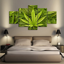 5 Pieces Abstract Green Leaves Wall Art Canvas Poster and Print Canvas Painting Decorative Picture for Living Room Home Decor(China)