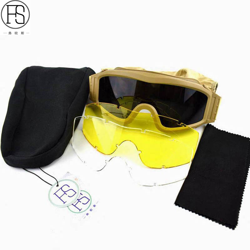 253cd4f7864 Army Military Tactical Goggles Oculos Airsoft Glasses Paintball Shooting  Glasses Motorcycle Wargame Protection Glasses 3 Lens. sku  32841694482