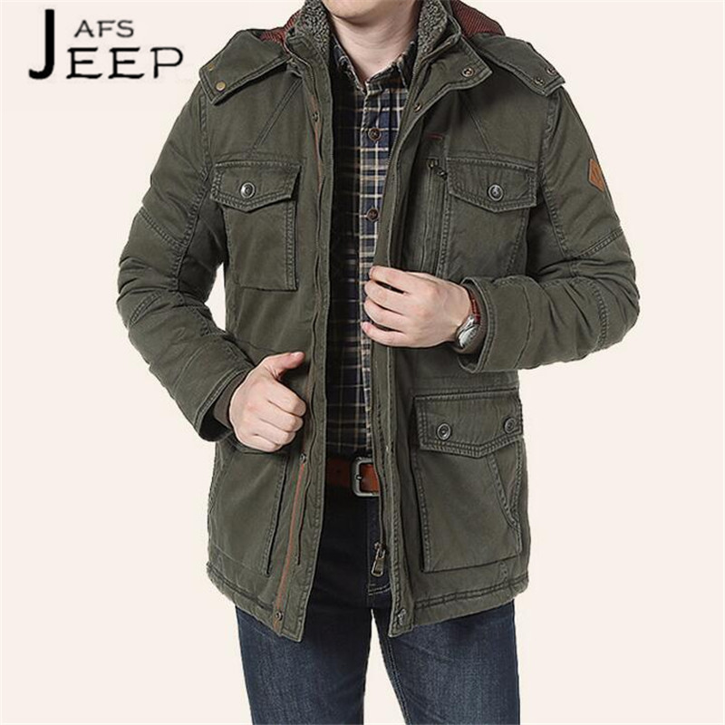 все цены на AFS JEEP Wholesale Price mans' Winter Long Coats,Militar thickness El calor mutil-pockets Alargado winter coats,hooded jacket онлайн