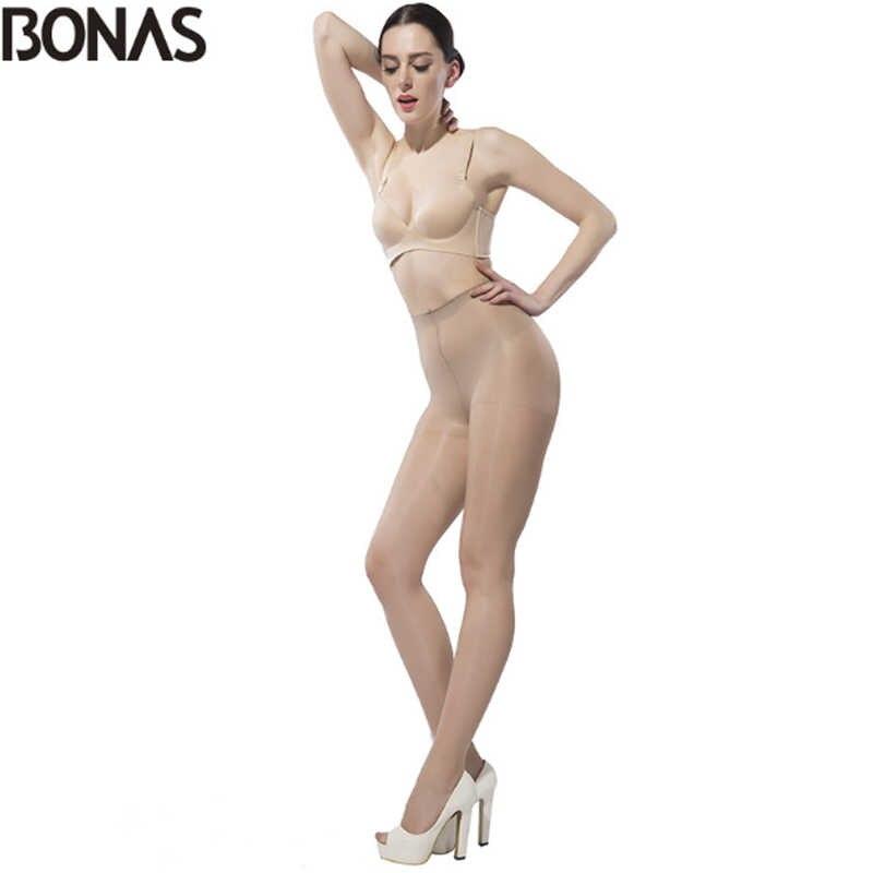 Bonas 15Dタイツ女性ビッグサイズのストッキングナイロンタイツ薄型セクシーな固体高輝度スパンデックスストッキングストッキングcollant女性のパンティー