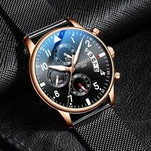 JENISES New Fashion Mens Watches Luxury Stainless Steel Quartz Chronograph Watch