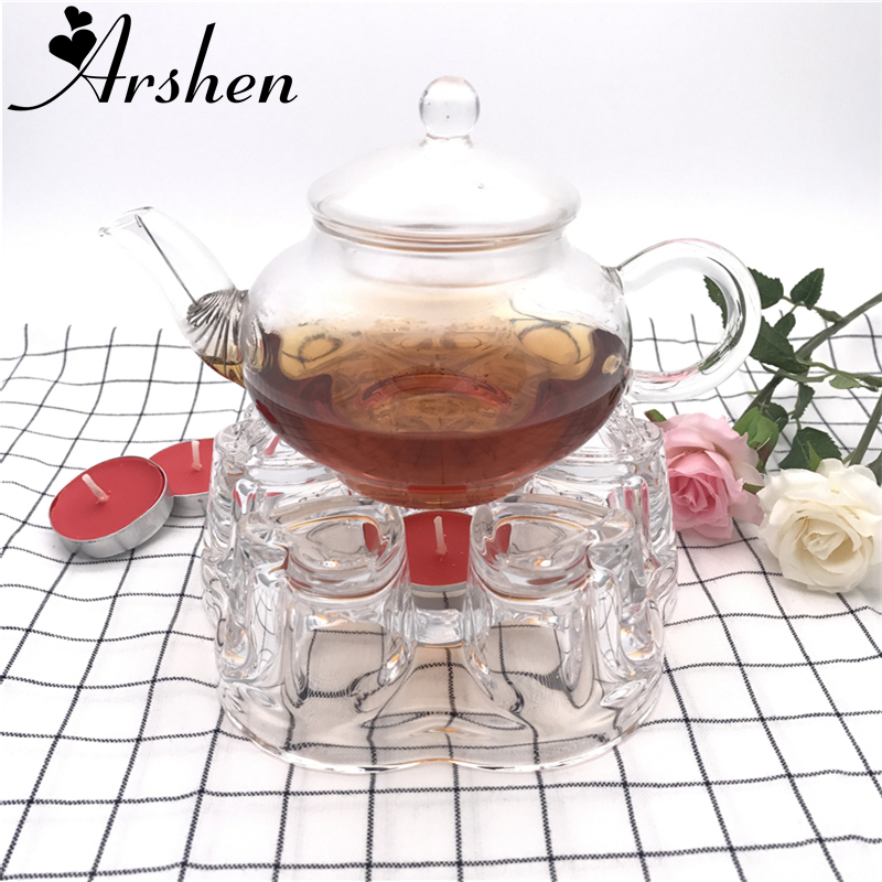 Arshen Heat-Resistant Glass Romantic Heart Shaped Teapot Warmer Heating Base Coffee Water Scented Tea Warmer Candle Heater