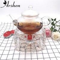 Arshen romántico Corazón en forma de vidrio resistente al calor tetera calefacción Bases agua café té perfumado caliente vela calentador