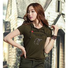 Women's Summer Military Uniform T shirts Short Sleeve O-Neck Cotton Hoodies Lady Army Green letter Print Casual Clothing Tops