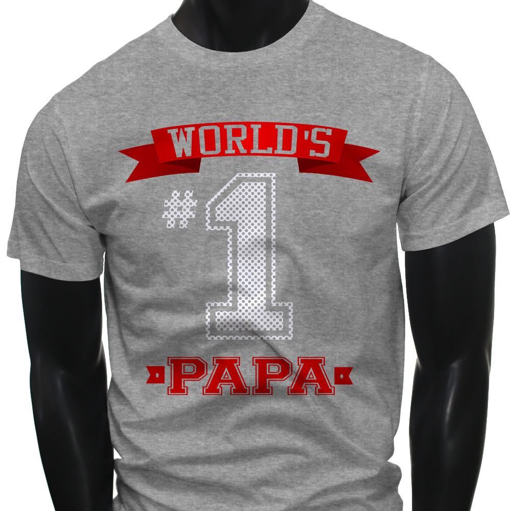 Pure Cotton Round Collar Crew Neck Short Sleeve Christmas Dad Fathers Day Worlds No.1 Papa Best Mens Gray T-Shirt Shirt For Men