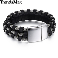19mm Wide 3 Strands Mens Chain Wristband Braided 316L Stainless Steel Black Silver Genuine Leather Bracelet