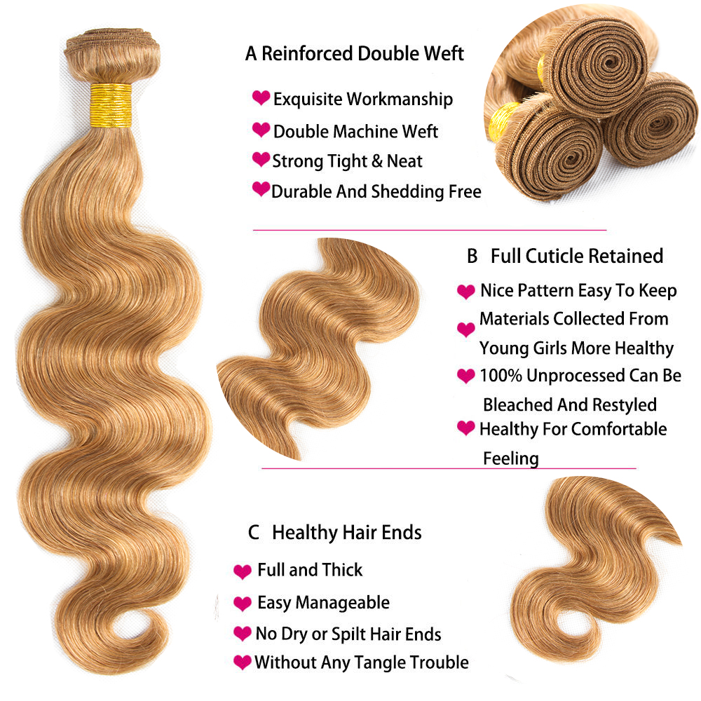 HairUGo ブラジル毛織りでバンドル閉鎖 #27 ハニーブロンドオンブル人間の髪のバンドル閉鎖非の Remy 毛  グループ上の ヘアエクステンション & ウィッグ からの 3/4 バンドル留め具付き の中 3