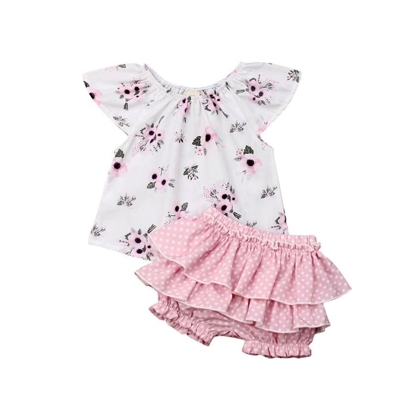 Newborn Infant Baby Girls Sleeveless Crop Top T-Shirt Ruffled Floral Shorts Pants Summer Outfit 0-18M