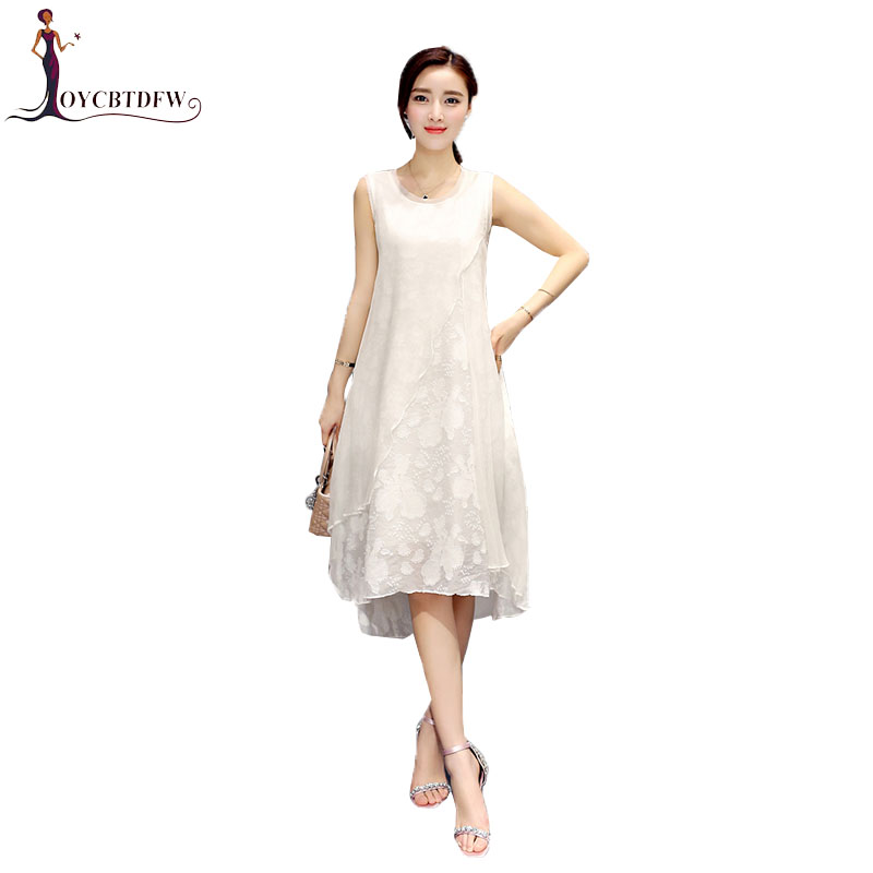 Women S 5XL Plus size Silk Summer Dress 2018 New Sleeveless Round neck Ladies Dress Solid Color Fashion Casual Dress Female XY13