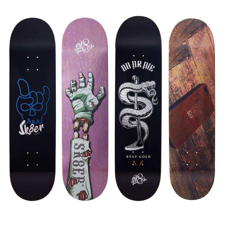 SK8ER Quality Skateboard Decks 8.0 8.125 8.25 Inch 8-Layers Canadian Maple Skateboard Grip Tape For Skate Board