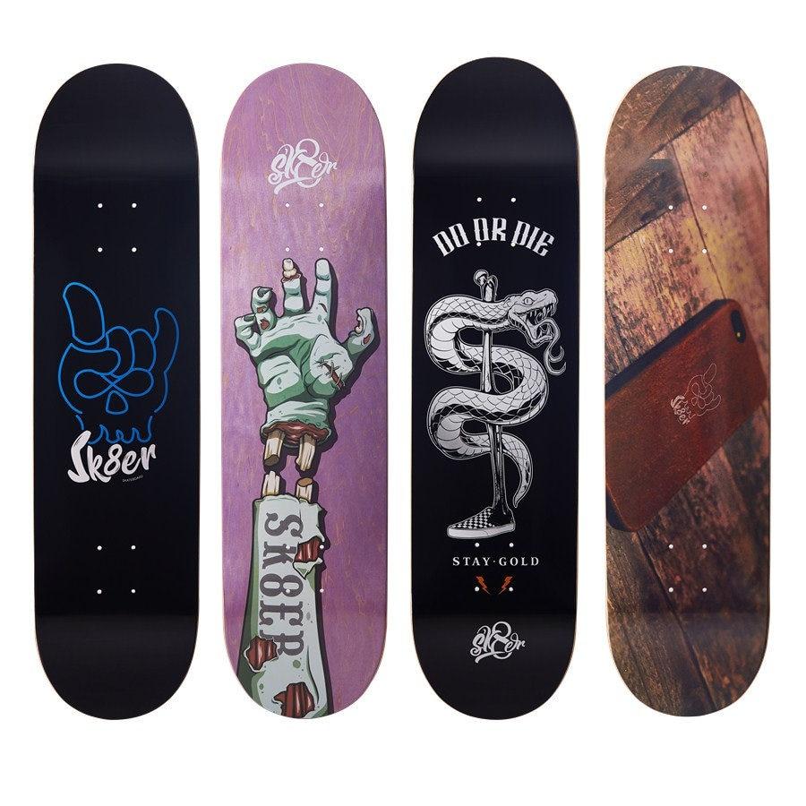 SK8ER Quality Skateboard Decks 8.0 8.125 8.25 Inch 8-Layers Canadian Maple Skateboard Grip Tape For Skate Board