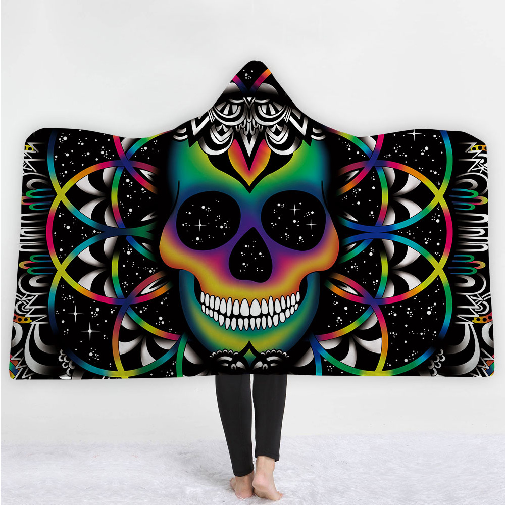 Модное одеяло с капюшоном и сахарным черепом для взрослых с цветочным принтом в готическом стиле, Флисовое одеяло из микрофибры