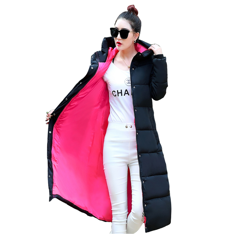 2016 Fashion Women Coat With Hood Thickened Warm Winter Long Down Jacket Parka Plus size 3XL 24 Colors women lady thicken warm winter coat hood parka overcoat long outwear jacket