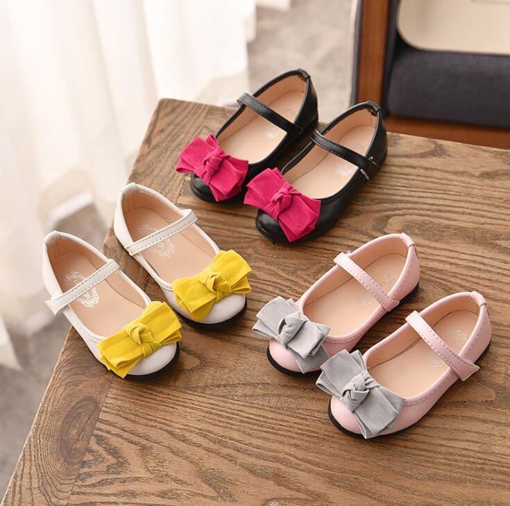 Frühling Sommer Neue Mädchen Hochzeit Partei Prinzessin Leder Schuhe Durchführen Schuhe Für Mädchen Kinder Baby Einzigen Bogen Schuhe Rheuma Und ErkäLtung Lindern