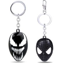 Metal Marvel Venom Mask Keychain Ring Toys for Adults 2018 New Black Spiderman Venom Action Figurines Car Key Chain Ring(China)