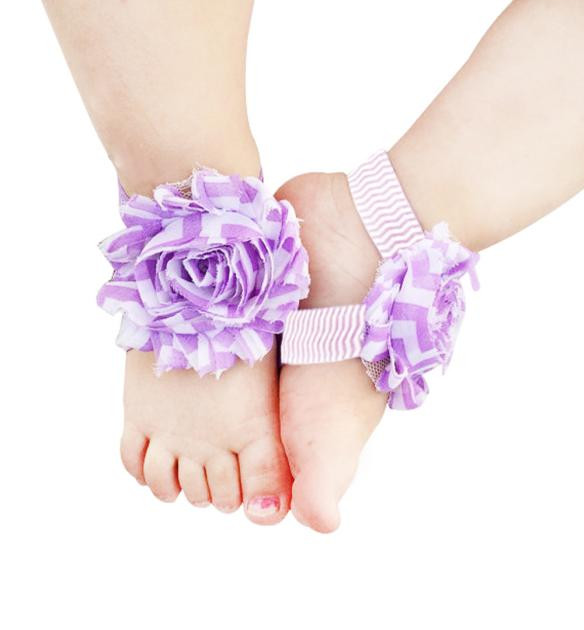 Beach-Shoes Foot-Flower Barefoot Toddler Infant Chiffon Pearl 19MAY13 P40 PARRY 1pair