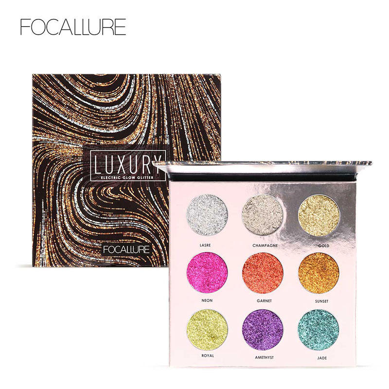 FOCALLURE Professional 9 Colors Makeup Eyeshadow Palette Eye Shadow Bright Glitters Makeup Lips Face Glitter Palette