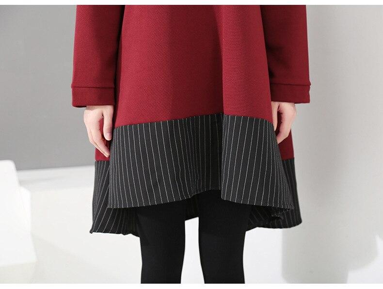 HTB12VhvXIfrK1Rjy1Xdq6yemFXa4 - [EAM] 2019 New Spring  Winter Round Neck Long Sleeve Red Striped Irregular Printed Stitch Big Hemline Dress Women Fashion JK557