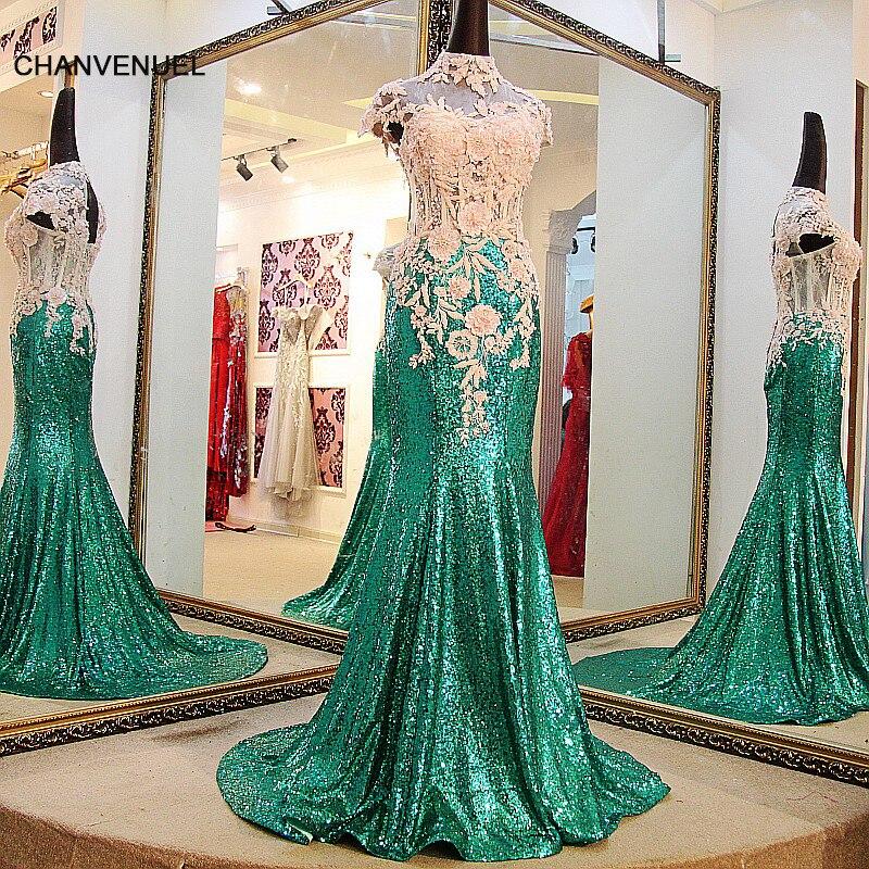 0790b0c9f4 LS67741 Shiny długi olśniewająca suknia długi wysoka neck syrenka wieczorowej  sukni capsleeves gorset powrót sexy zielona suknia wieczorowa