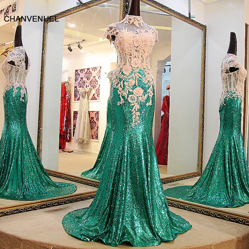 LS67741 Shiny long sequin gown long high neck mermaid evening gown  capsleeves corset back sexy green long prom dress 223354b2311f