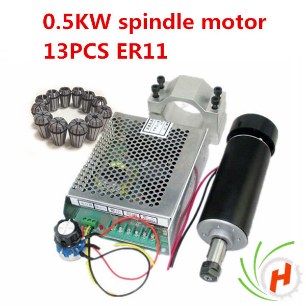 spindle motor 500W air cooled 0.5kw milling Motor +spindle speed power converter+&52mm clamp+13pcs er11 collet for DIY dc110v 500w er11 high speed brush with air cooling spindle motor with power fixed diy engraving machine spindle