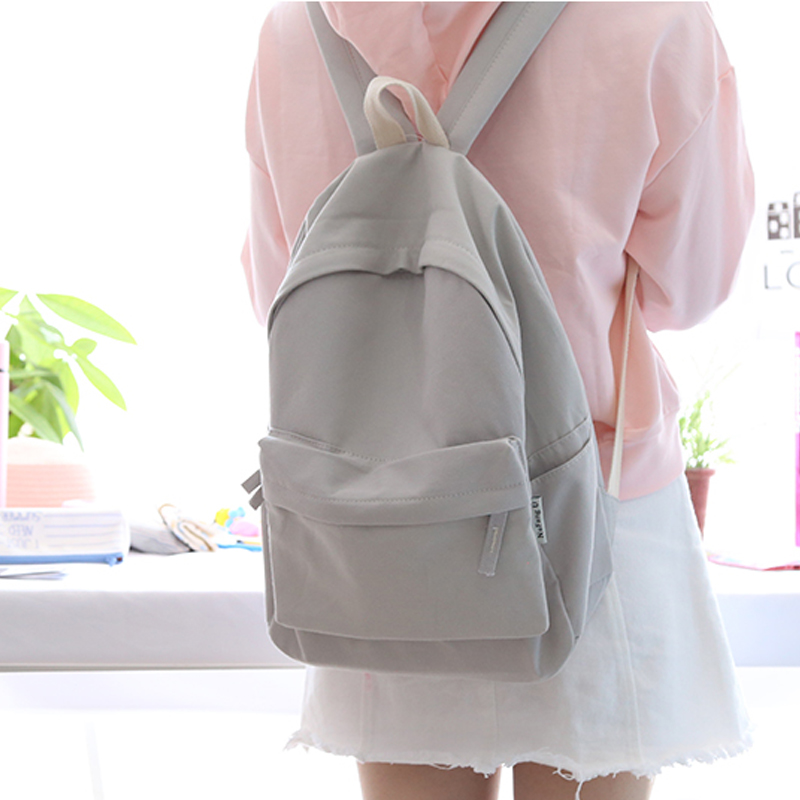 NuFangU  Classic Design Solid Color Cotton Fabric Women Backpack Fashion Girls Leisure Bag School Student Bag Book Bag