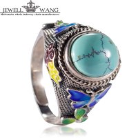 JEWELLWANG Real Turquoise Ring For Women Natural Stone 925 Sterling Silver Ring Filament Yarn Luxury Retro