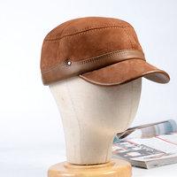 Men's Genuine Leather Adjustable Military Flat top Cap Service Cap Beret Newsboy Navy/Army Caps/Hats Adjustable