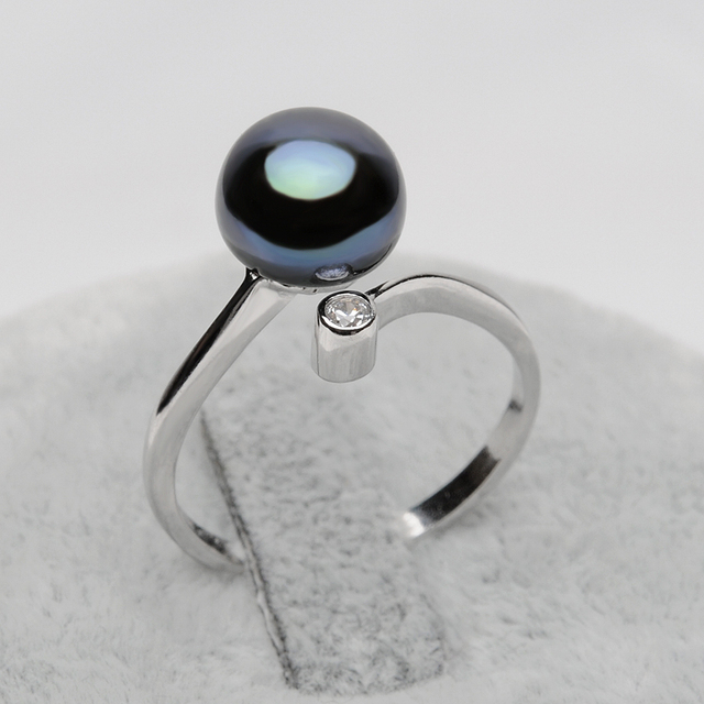 Black Freshwater Pearl 925 Sterling Silver Ring