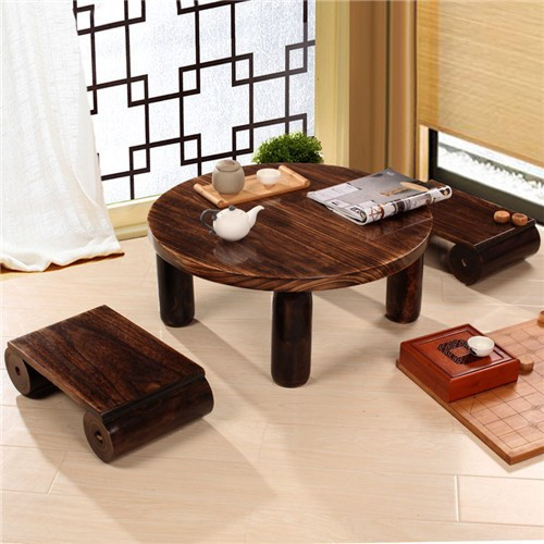 Japanese Antique Wood Round Table 80cm Paulownia Traditional Asian Furniture  Design Living Room Low Floor Coffee