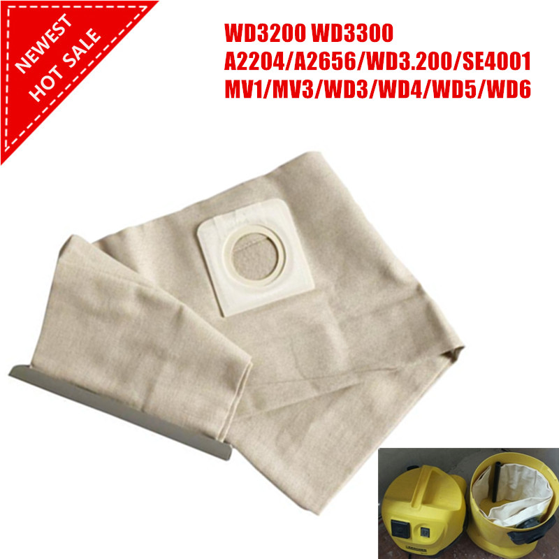 цена на High quality New 1 PCS For KARCHER VACUUM CLEANER Cloth DUST Filter BAGS WD3200 WD3300 WD Fit A2204/A2656/WD3.200/SE4001/MV1/MV3