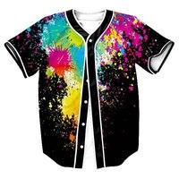 3D Baseball Chemise Splash D'encre Baseball Jersey À Manches Courtes T-shirts Casual Slim Fit T Shirt Hommes/Femmes Hip Hot Harajuku T-shirt 2XL